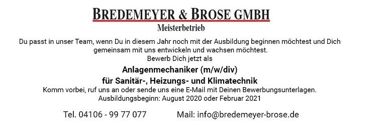 Bredemeyer & Brose GmbH Ausbildung Hasloh Azubi Anlagenmechaniker